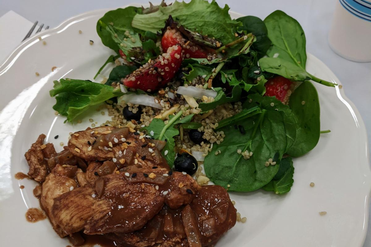 Eating Well 101 How About Chocolate for Lunch? Chicken in chocolate sauce with quinoa salad with chocolate vinaigrette